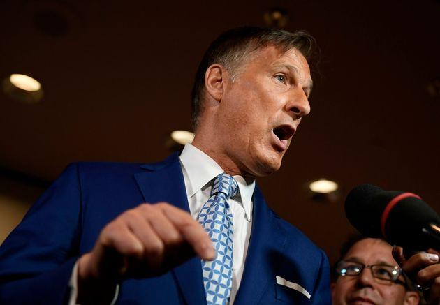 People's Party of Canada Leader Maxime Bernier speaks to reporters at the PPC national conference in Gatineau, Que. on Aug. 18, 2019.
