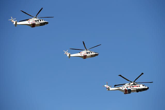 LONDON, ENGLAND - JULY 26: Helicopters patrol over the Olympic Park ahead of the 2012 London Olympic Games on July 26, 2012 in London, England. (Photo by Daniel Berehulak/Getty Images)