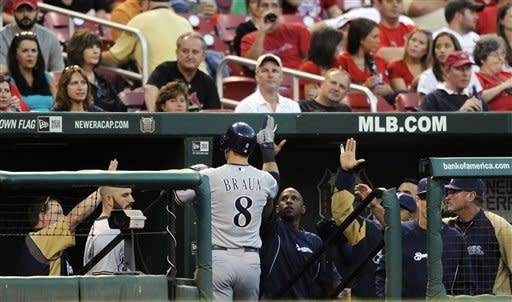 Milwaukee Brewers' Ryan Braun (8) is congratulated after scoring against the St. Louis Cardinals in the third inning of a baseball game, Saturday, Sept. 8, 2012, at Busch Stadium in St. Louis. (AP Photo/Bill Boyce)