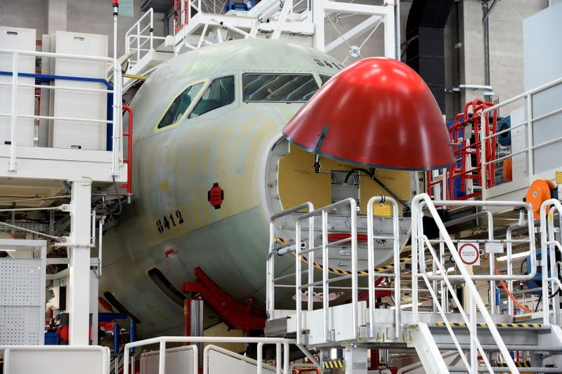 FILE PHOTO: A general view in a new A320 production line at the Airbus plant in Hamburg
