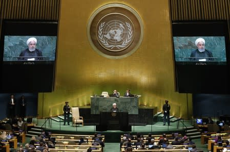 Iran's President Hassan Rouhani addresses the 74th session of the United Nations General Assembly at U.N. headquarters in New York City, New York, U.S.
