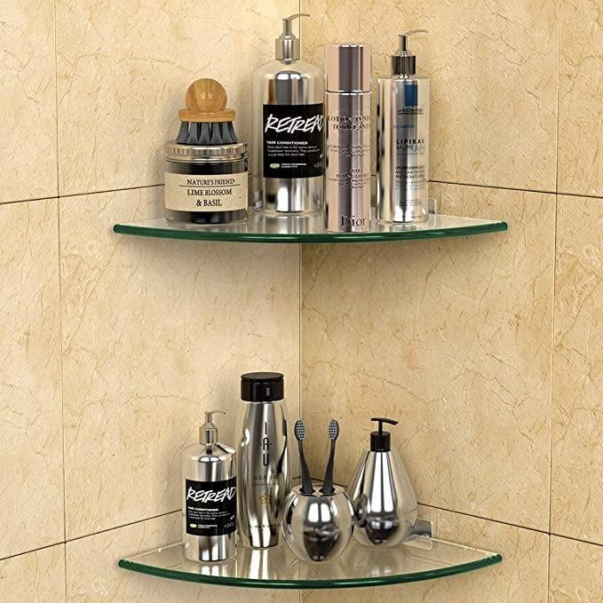 <p>The <span>GeekDigg 2 Pack Corner Glass Shelf</span> ($34, originally $42) will not only store your shower necessities but also make your shower look so chic!</p>