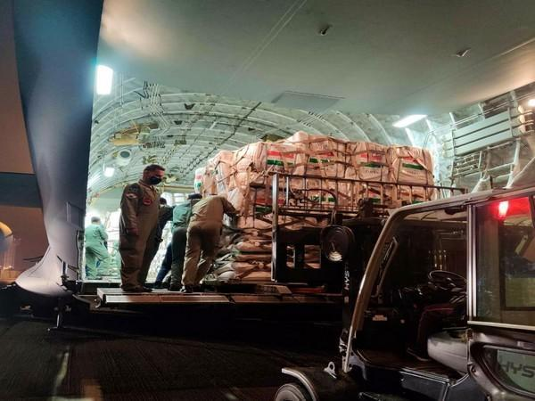 Emergency humanitarian aid on its way to Lebanon's Beirut in IAF C17 aircraft. (Photo credit: EAM S Jaishankar Twitter)