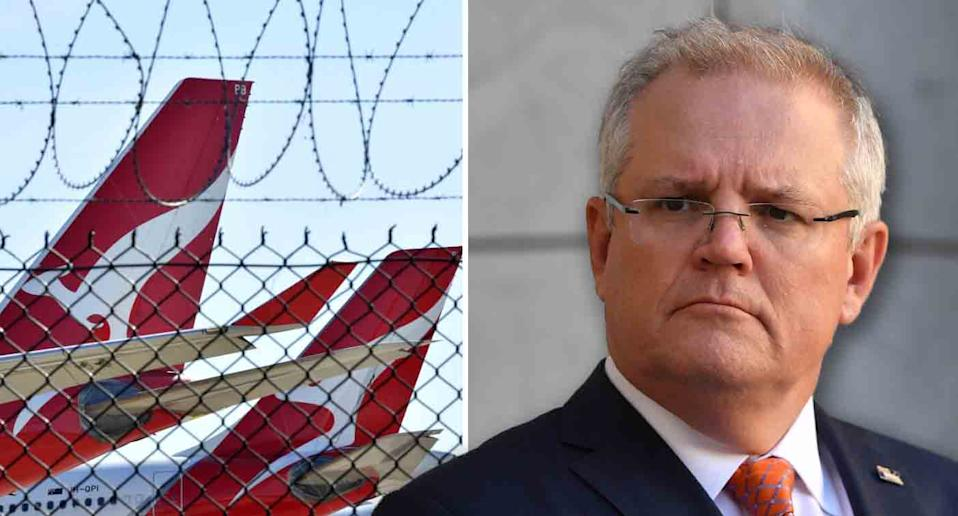 Qantas planes behind a wire fence in a photo on the left. Scott Morrison is pictured on the right.