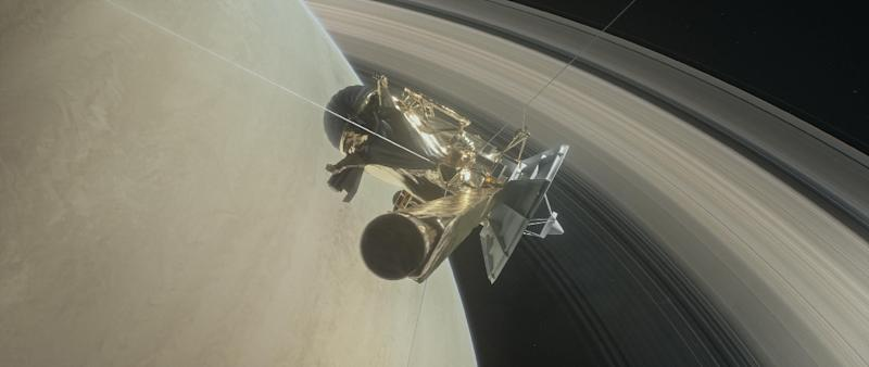 The Cassini spacecraft, seen in this NASA handout illustration, has made its last plunge into Saturn