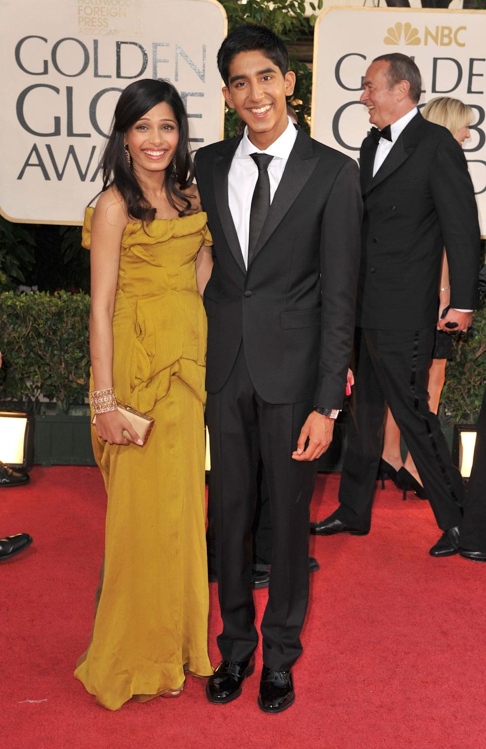 Patel and Freida Pinto at the 66th Annual Golden Globe Awards on Jan. 11, 2009, in Los Angeles.