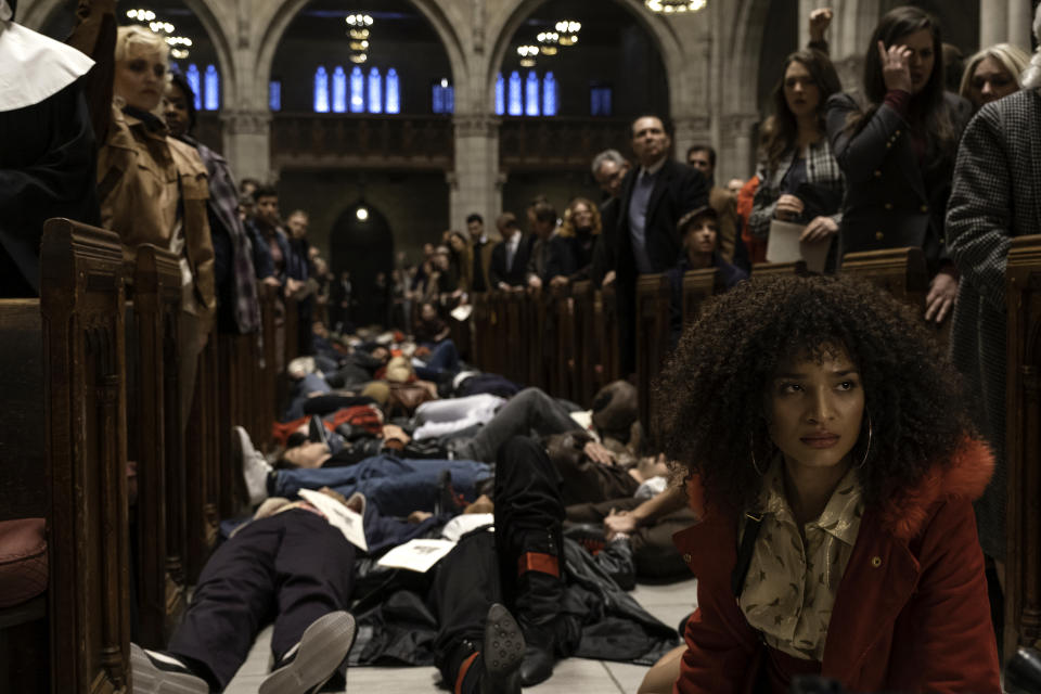 """Indya Moore as Angel during Act Up's """"die-in"""" at St. Patrick's Cathedral in the Season 2 premiere of FX's 'Pose' (Macall Polay/FX)"""