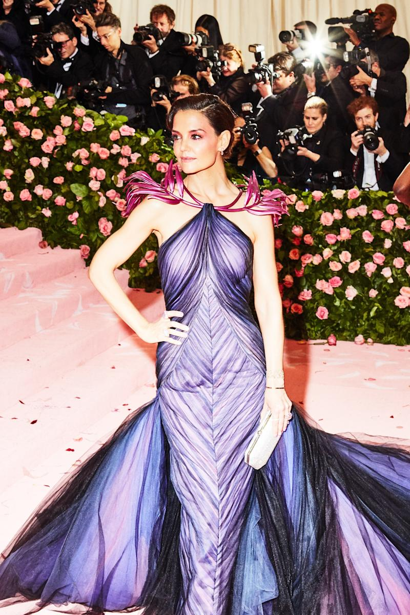 Katie Holmes on the red carpet at the Met Gala in New York City on Monday, May 6th, 2019. Photograph by Amy Lombard for W Magazine.
