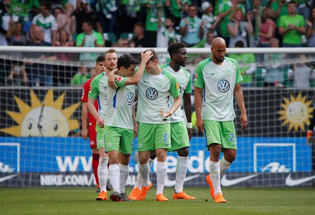 Soccer Football - Bundesliga - VfL Wolfsburg v FC Cologne - Volkswagen Arena, Wolfsburg, Germany - May 12, 2018 Wolfsburg's Josip Brekalo celebrates scoring their fourth goal with teammates REUTERS/Wolfgang Rattay DFL RULES TO LIMIT THE ONLINE USAGE DURING MATCH TIME TO 15 PICTURES PER GAME. IMAGE SEQUENCES TO SIMULATE VIDEO IS NOT ALLOWED AT ANY TIME. FOR FURTHER QUERIES PLEASE CONTACT DFL DIRECTLY AT + 49 69 650050
