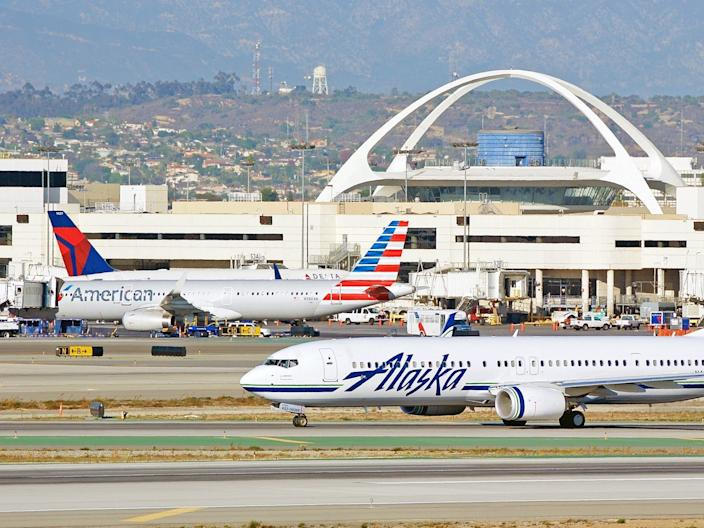 Alaska Airlines, American Airlines, and Delta Air Lines at LAX