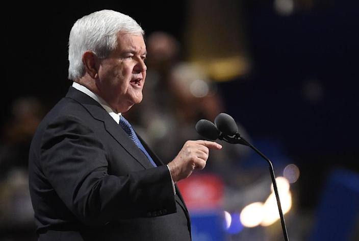 Former speaker of the House Newt Gingrich, seen in July 2016, could be tapped for secretary of state in a Donald Trump administration (AFP Photo/Robyn Beck)