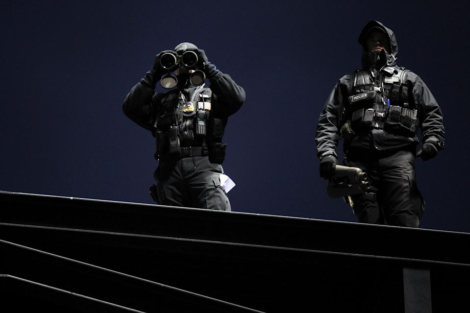 ST LOUIS, MO - OCTOBER 19: Security overlook the stadium prior to Game One of the MLB World Series between the Texas Rangers and the St. Louis Cardinals at Busch Stadium on October 19, 2011 in St Louis, Missouri. (Photo by Jamie Squire/Getty Images)