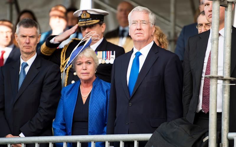 SIr Michael Fallon with his wife Wendy at the naming of a new offshore patrol vessel - © Crown copyright This image may be used for current news purposes only. It may not be used, reproduced or transmitted for any other purpose.