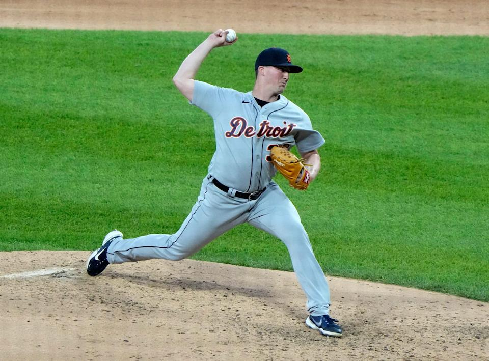 Detroit Tigers relief pitcher Kyle Funkhouser (36) throws against the Chicago White Sox during the fifth inning at Guaranteed Rate Field in Chicago on Friday, June 4, 2021.