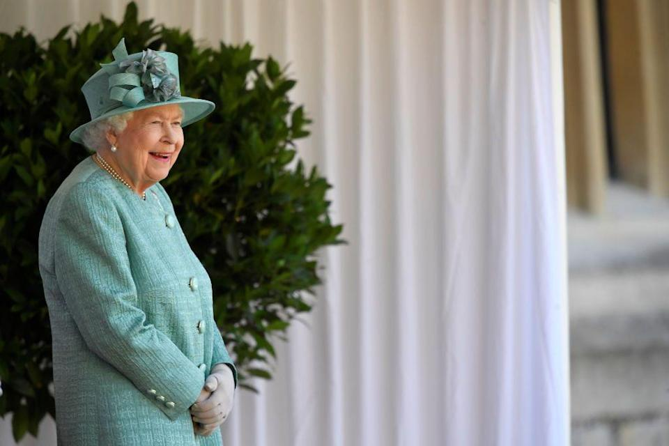 <p>Her Majesty watched the proceedings from a podium outside of her Windsor residence.</p>