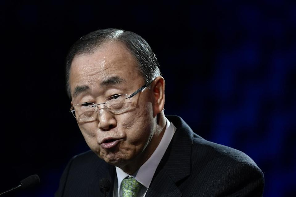 """Former United Nations secretary-general Ban Ki-Moon, seen addressing December's One Planet Summit, announced the creation of the commission as a """"critical step forward"""" (AFP Photo/Philippe LOPEZ)"""