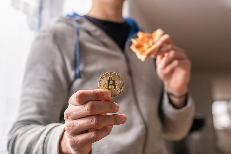 Slovenia, 02.25.2019 - Bitcoin pizza day anniversary. The first reported exchange of cryptocurrency for a consumer product on May 22, 2010.