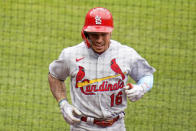 St. Louis Cardinals' Kolten Wong returns to the dugout after leading off the first baseball game of a doubleheader with a solo home run off Pittsburgh Pirates starting pitcher Trevor Williams in Pittsburgh, Friday, Sept. 18, 2020. (AP Photo/Gene J. Puskar)