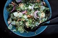 """A bright ginger dressing adds spark to this cooling salad and makes it pair well with traditional Thanksgiving flavors. <a href=""""https://www.epicurious.com/recipes/food/views/kale-and-cucumber-salad-with-roasted-ginger-dressing?mbid=synd_yahoo_rss"""" rel=""""nofollow noopener"""" target=""""_blank"""" data-ylk=""""slk:See recipe."""" class=""""link rapid-noclick-resp"""">See recipe.</a>"""