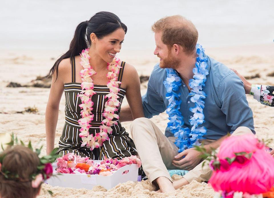 <p>The Duke and Duchess of Sussex fully committed to the beach vibes during a visit to Bondi Beach, one stop on their 16-day tour across Australia, Fiji, Tonga, and New Zealand. The couple wore leis as they participated in a number of activities with a mental health awareness group.</p>