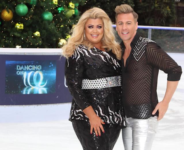 Gemma Collins and Matt Evers at the Dancing On Ice Launch Showcase at the Natural History Museum Ice Rink, Kensington,. (Photo by Keith Mayhew/SOPA Images/LightRocket via Getty Images)