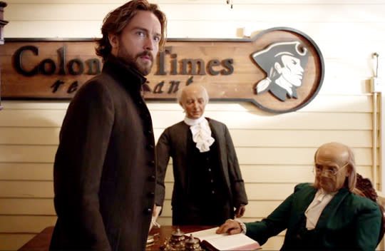 """<p>As a former resident of Colonial times, it stands to reason that Ichabod Crane would take issue with a 21st century restaurant that dares to call itself… Colonial Times. Crane (Tom Mison) suffers this indignity in the Season 3 premiere, and predictably balks at the sight of such dishes as """"Eggs Benedict Arnold"""" and """"Spaghetti With Musket Balls."""" He's equally critical of the employees, bristling at the incorrect positioning of their Tricorne hats. Fortunately, he escaped without having an anachronistic aneurysm. — <i>EA</i></p><p><i>(Credit: Fox)</i></p>"""