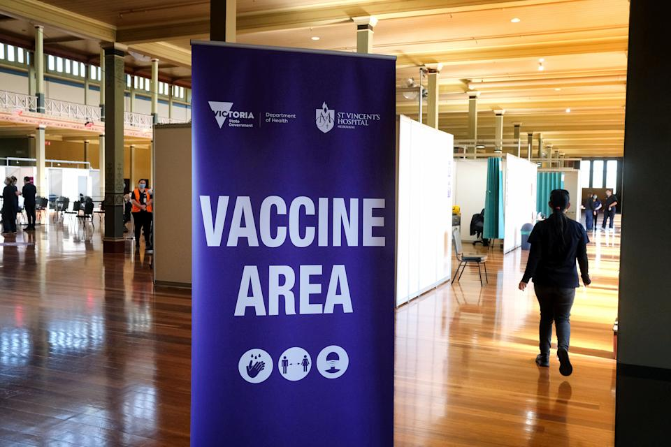 MELBOURNE, AUSTRALIA - APRIL 21: A general view of the mass vaccination hub at the Royal Exhibition Building on April 21, 2021 in Melbourne, Australia. Mass-vaccination hubs have opened in Melbourne and Geelong today, open to people eligible for the COVID-19 vaccine. Any Victorian eligible to be vaccinated under phase 1a or 1b will be able to receive a COVID-19 vaccine at Melbourne's Royal Exhibition Building, the Melbourne Convention and Exhibition Centre or at Geelong's former Ford factory from today. (Photo by Luis Ascui - Pool/Getty Images)