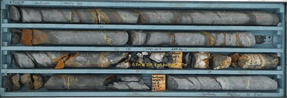 Figure 2 – Drill Core from RWD01 from 66.7m to 70.1m (CNW Group/Fosterville South Exploration Ltd.)