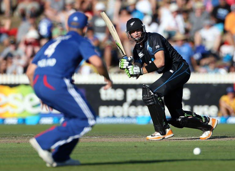 Martin Guptill bats at Snedden Park in Hamilton on Febuary 17, 2013