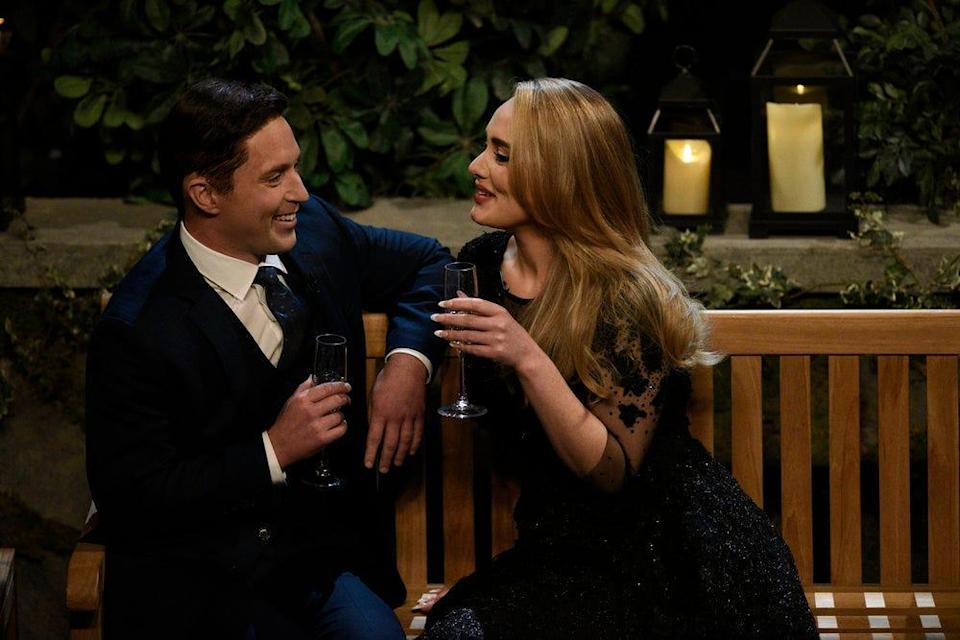 """Beck Bennett plays eligible dude Ben K. and """"Saturday Night Live"""" host Adele is herself during """"The Bachelor"""" sketch."""