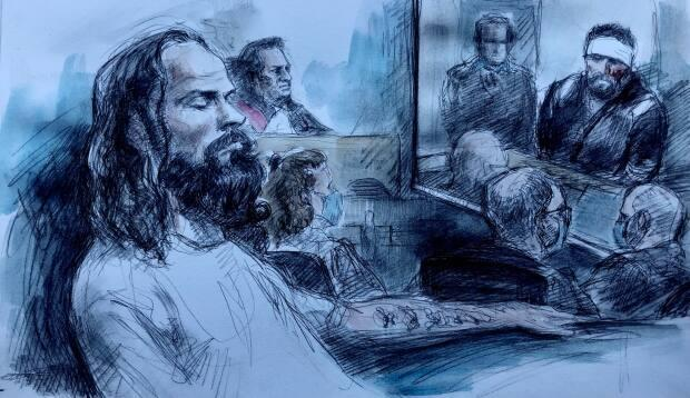 Cory Fenn is seen here seated in the prisoner's box before Justice Howard Leibovich on Tuesday as a video of Fenn is played in court. Seated are defence lawyer Mary Cremer and Crown attorneys Mike Newell and Dave Slessor.   (Pam Davies/CBC - image credit)