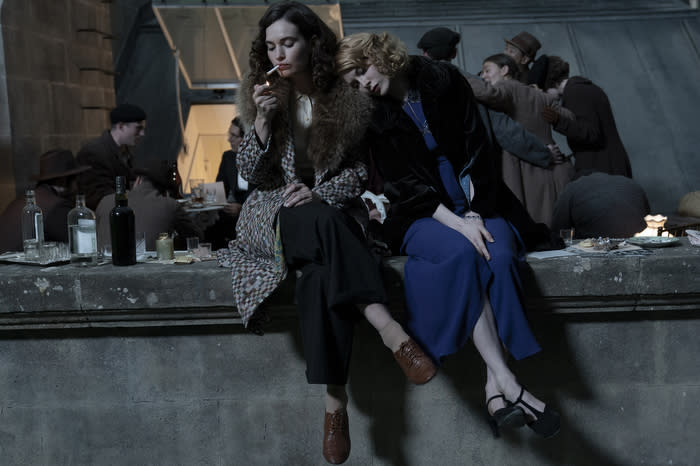 """Lily James, left, and Emily Beecham in 'The Pursuit of Love'<span class=""""copyright"""">Amazon Studios</span>"""