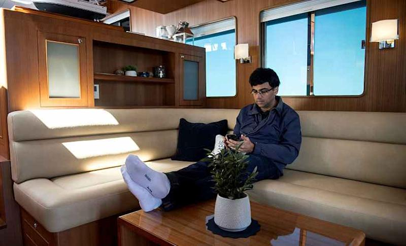Indian chess legend Viswanathan Anand takes a boat trip during the resting day of Norway Chess 2018 tournament in Stavanger. Reuters