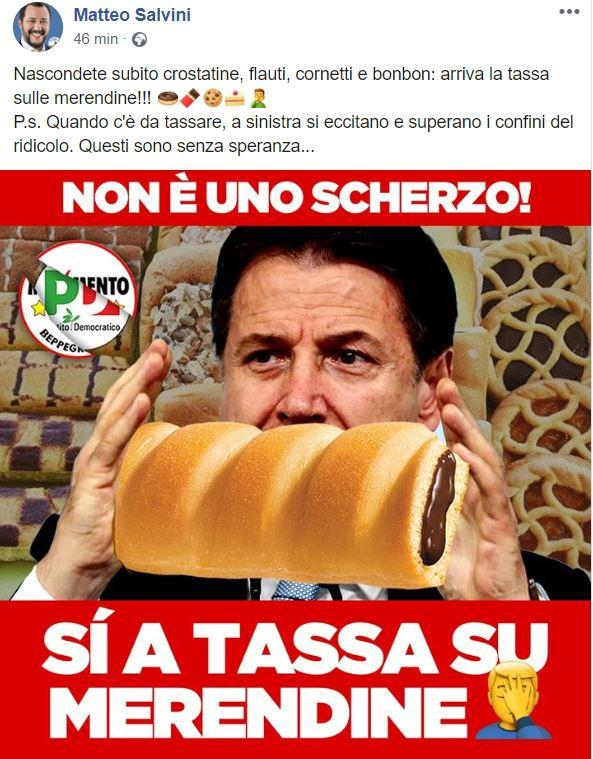 Il post di Salvini su Facebook