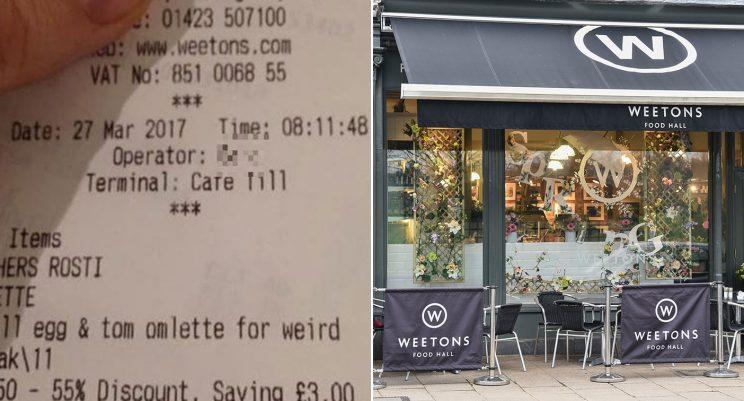 The cafe in North Yorkshire and the controversial receipt [SWNS]