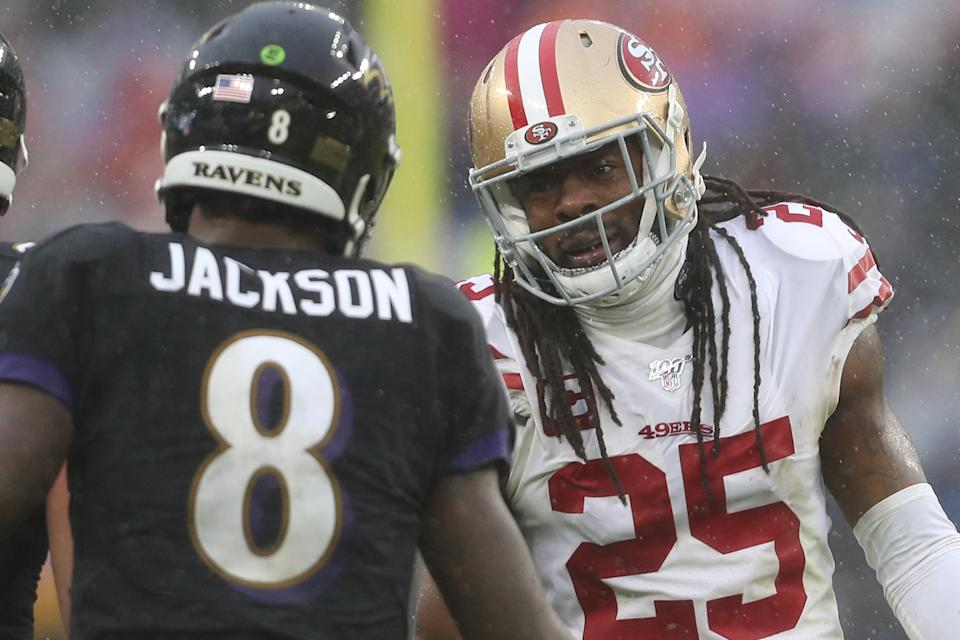 Richard Sherman defended the 49ers' hits on Lamar Jackson, which caused a spat between him and Ravens head coach John Harbaugh. (Photo by Patrick Smith/Getty Images)
