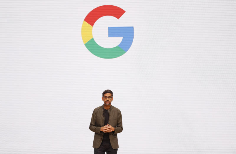 Google CEO Sundar Pichai speaks during the Google keynote address at the Gaming Developers Conference in San Francisco, California, U.S., March 19, 2019. REUTERS/Stephen Lam