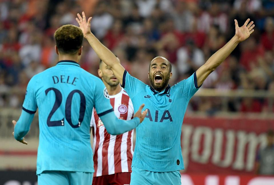 Lucas Moura celebrates after putting Spurs 2-0 ahead. (Photo by ARIS MESSINIS / AFP)        (Photo credit should read ARIS MESSINIS/AFP/Getty Images)