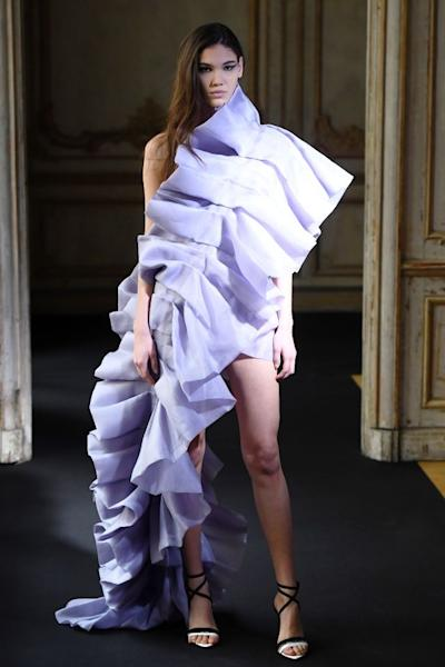 It would be difficult to find more glamour than at Aelis, which showed asymmetrical gowns consisting entirely of ruffled ribbons in a palette of pastels. Paris, January 23, 2020