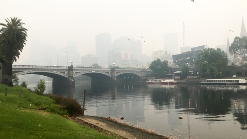The smoke blanketing Melbourne, pictured here on Tuesday morning.