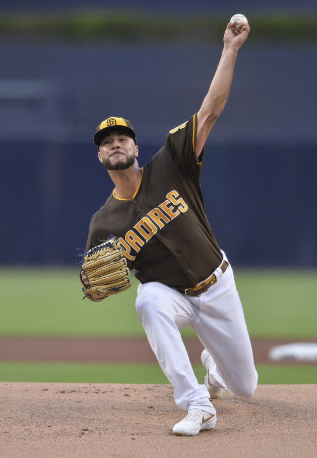 San Diego Padres starting pitcher Joey Lucchesi works against a San Francisco Giants batter during the first inning of a baseball game Friday, July 26, 2019, in San Diego. (AP Photo/Orlando Ramirez)