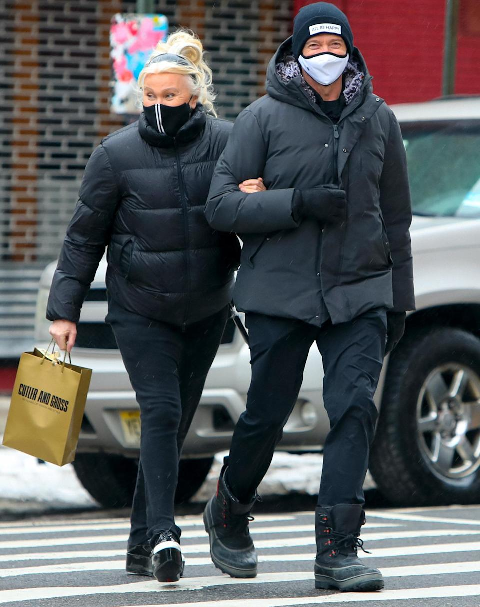 <p>Hugh Jackman and wife Deborra-Lee Furness are seen linked arm-in-arm as they walk through N.Y.C. on Tuesday.</p>