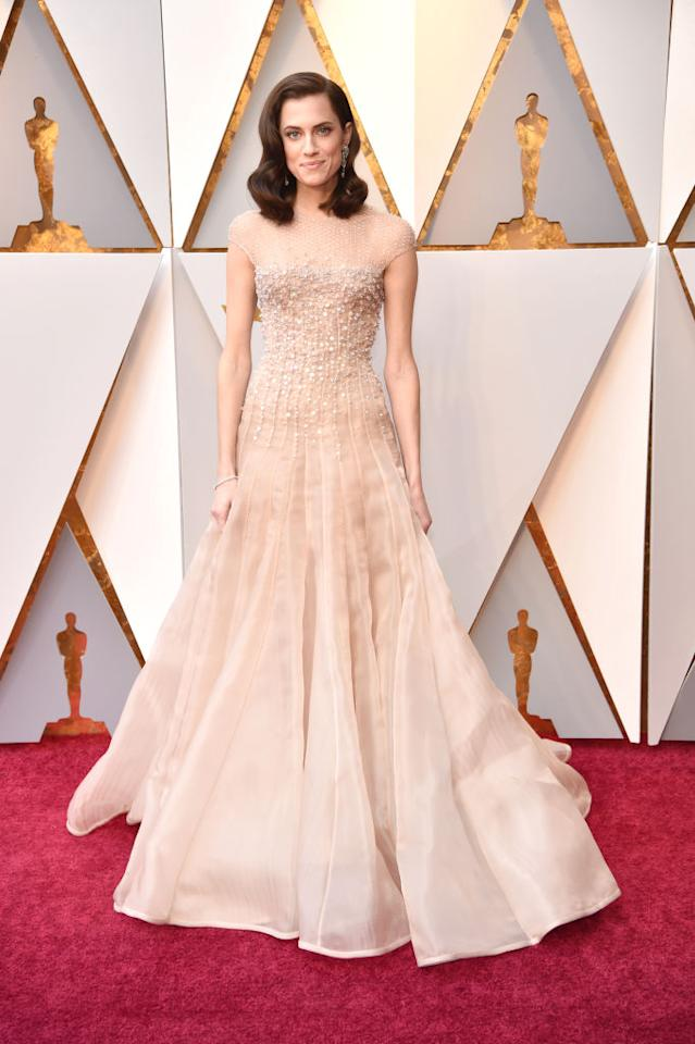 "<i>Get Out</i>'s leading lady, Allison Williams, wore an Armani Privé gown and an Old Hollywood hairstyle. In <a rel=""nofollow"" href=""https://www.instagram.com/p/Bf6cnRjhUBw/?hl=en&taken-by=aw"">a pre-show Instagram post</a>, Williams gushed about her good fortune. ""She dreamed about it all, and now it's happening,"" Williams wrote of her younger self. (Photo: Getty Images)"