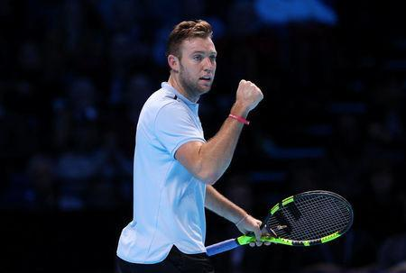 Tennis - ATP World Tour Finals - The O2 Arena, London, Britain - November 14, 2017 USA's Jack Sock celebrates during his group stage match against Croatia's Marin Cilic REUTERS/Hannah McKay
