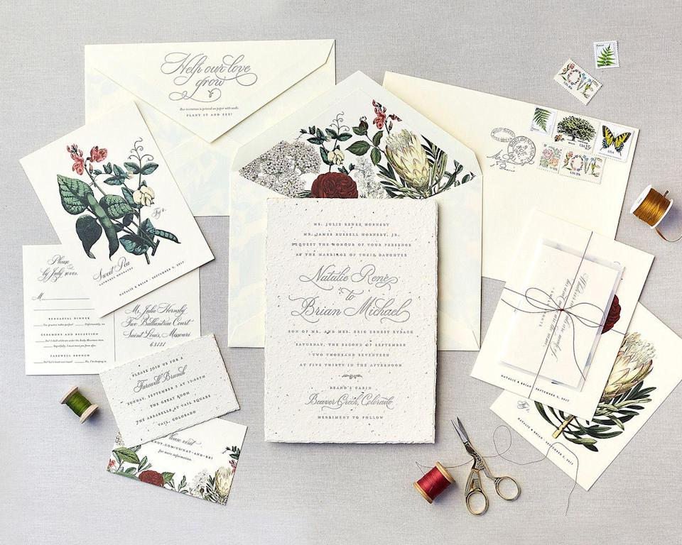"<p>Using vintage, recycled, compostable, or biodegradable paper is a forward-thinking way to create an heirloom out of one of the more temporal elements of the wedding day; and while using vintage or recycled paper is possible, those invitations likely won't withstand the test of time for each and every guest. </p><p>Opt for invitations that have staying power—and ones that can become heirlooms themselves outside of being framed, collected, or stored in an album. Here, an invitation suite by <a href=""https://chereeberrypaper.com/"" rel=""nofollow noopener"" target=""_blank"" data-ylk=""slk:Cheree Berry Paper"" class=""link rapid-noclick-resp"">Cheree Berry Paper</a> was created out of seed paper, allowing each guest to plant the stationery in soil, and watch the seeds grow into something they can enjoy for years to come. Take the theme a step further, with a vintage-inspired botanical liner and stamps. </p>"