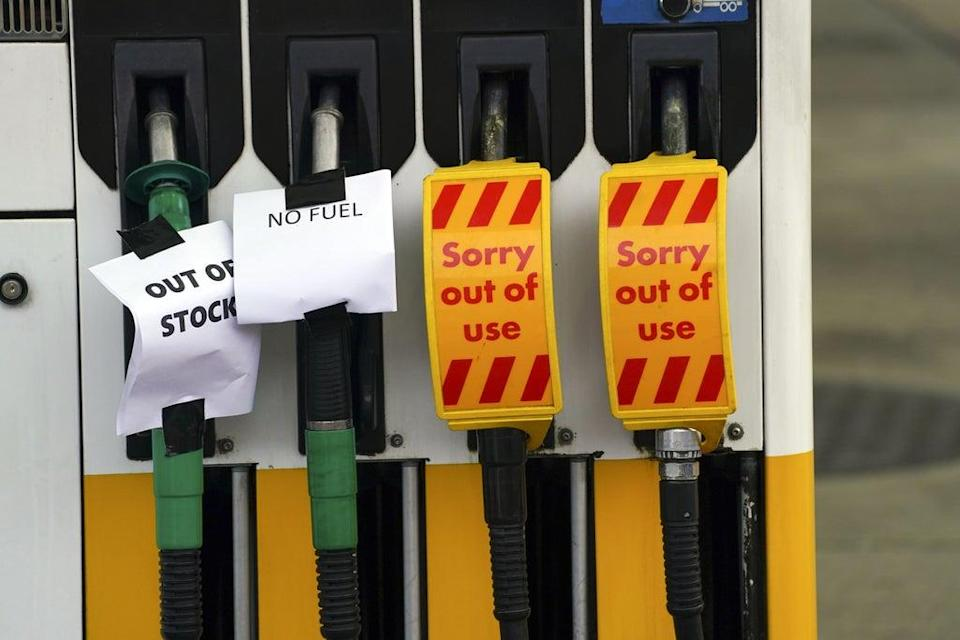 Petrol pumps at a filling station which has run out of fuel (Steve Parsons/PA) (PA Wire)
