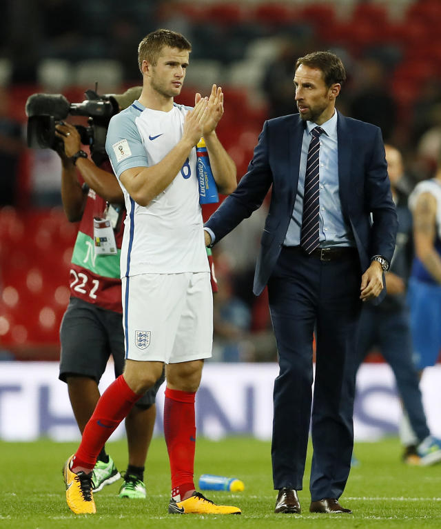 <p>England's manager Gareth Southgate, right, watches England's Eric Dier clapping hands after the World Cup Group F qualifying soccer match between England and Slovakia at Wembley Stadium in London, England, Monday, Sept. 4, 2017. (AP Photo/Kirsty Wigglesworth) </p>
