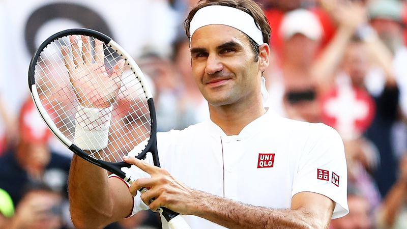 Roger Federer, pictured here in action at Wimbledon in 2018.