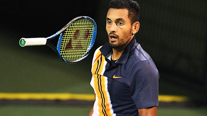 Nick Kyrgios reacts after a point against Bradley Klahn. More