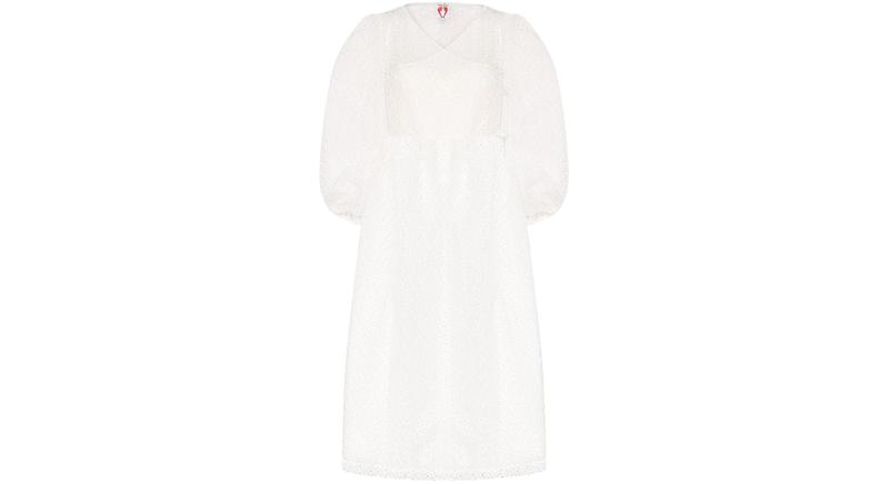 Shrimps Georgia organza embroidered wrap dress